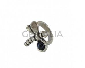 SWAROVSKI and Zamak Dragonfly ring. 25x28mm. Silver-Graphite. Inn.3mm
