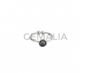 SWAROVSKI and brass Ring adjustable 6mm. Silver-SilverNight. Top Quality