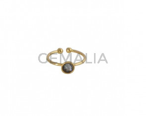 SWAROVSKI and brass Ring adjustable 6mm. Gold-GoldNight. Top Quality