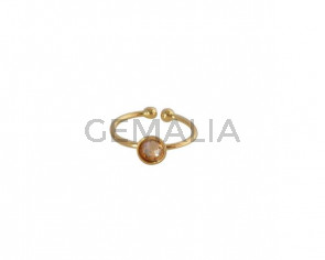 SWAROVSKI and brass Ring adjustable 6mm. Gold-Golden Shadow. Top Quality