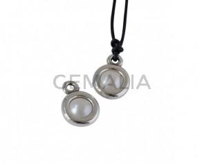 SWAROVSKI and Zamak Pendant. 17x11mm Coin. Silver-Crystal CR. Inn.2mm