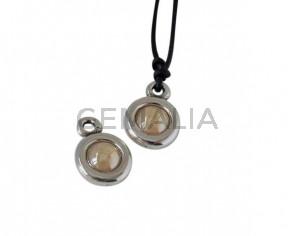 SWAROVSKI and Zamak Pendant. 17x11mm Coin. Silver-Crystal Golden Shadow. Inn.2mm