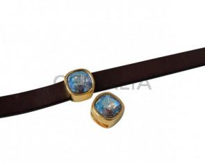 SWAROVSKI and Zamak slider. 13x13mm Square. Gold-Light Sapphire Shimmer. Inn.3mm