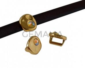 SWAROVSKI and Zamak Slider. Coin 8.3x8x8mm. Gold-Citrine Shimmer. Inn.5x2.5mm