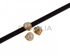 SWAROVSKI and Zamak Slider. 6x4mm. Gold-Crystal CR. Inn.3x2mm