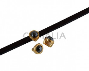 SWAROVSKI and Zamak Slider. 6x4mm. Gold-Jet Hematite. Inn.3x2mm