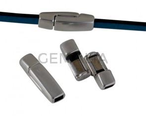 Zamak. Magnetic clasp. Flat. 17x5mm. Silver. Inn.3x2mm.
