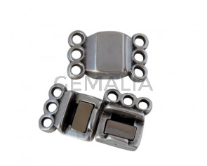 Magnetic clasp Zamak. Flat. 3 rings. 13.5x8.5mm. Silver. Inn.1.8mm. Bulk Price.