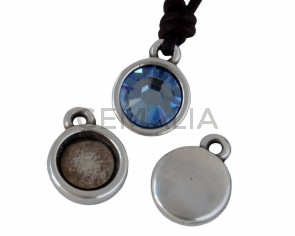 Zamak.Pendant.Coin.9mm. o stone.For 2058-SS34-7mm.Silver.Inn.1.7mm