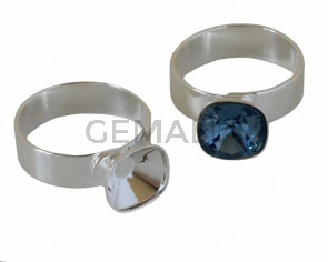 Brass ring. No stone. For Swarovski 4470-10mm. Silver. Adaptable