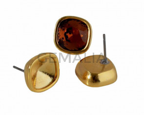 Zamak earring. 13x13mm. No stone. For Swarovski 4470-10mm. Gold