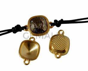 Zamak conector. 13x19mm. No stone. For Swarovski 4470-10mm. Gold. Inn.1.3mm