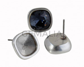 Zamak earring. 13x13mm. No stone. For Swarovski 4470-10mm. Silver