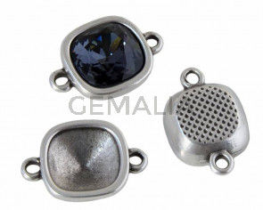 Zamak conector. 13x19mm. No stone. For Swarovski 4470-10mm. Silver. Inn.1.3mm