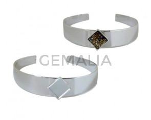 Brass bracelet. Square. No stone. For Swarovski 2493-10mm. Silver. Adaptable