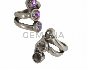 Zamak Ring. 34x24mm.No stone. 3 settings for SWAROVSKI rivoli SS39 (8mm). Silver. Nº16
