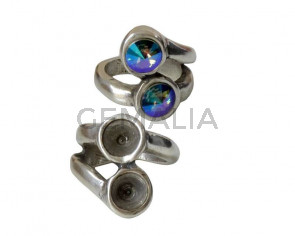 Zamak Ring. 22x24mm.No stone. 2 settings for SWAROVSKI rivoli SS39 (8mm). Silver. Nº16