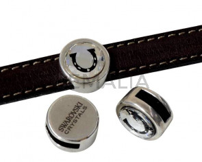 Zamak & SWAROVSKI slider. Horseshoe coin.13mm. Silver-Crystal. Inn.10x3mm