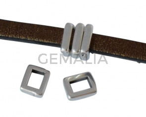 Zamak slider. Bar. 5.3x4.2mm. Silver. Inn.3x2mm
