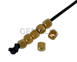 Metal bead Brass slider cube 2.5x2.5mm. Gold. Inn.1.6mm