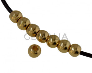Round bead brass 4x3.2mm. Gold. Inn.1.4mm