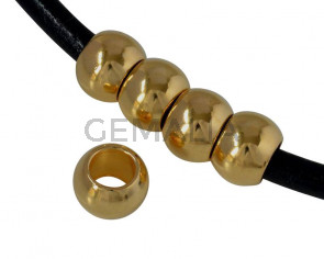 Rondelle bead brass 10x6mm. Gold. Inn.6mm