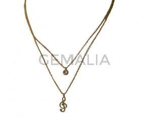 Stainless Steel chain necklace. Musical note . Stainless Steel 304. 16.3 Inch. Gold. Ajustable