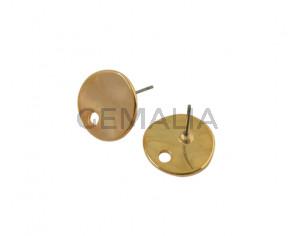 Earring. Zamak 14x13.8mm. Gold. Int.2mm
