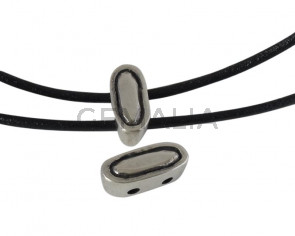 Zamak slider two holes. 18x8x7mm oval. Silver. Inn.2.5mm
