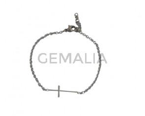 Stainless Steel bracelet 316L. 7inch Cross. Silver