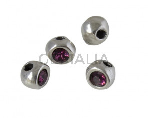 SWAROVSKI and Zamak round bead. 7x7x6 irregular. Silver-Amethyst. Inn.3mm