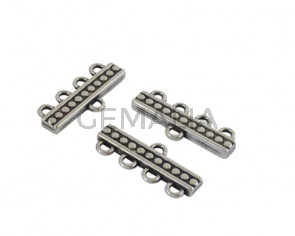 Zamak end cap. 4 holes 11x4mm. Silver. Inn.2mm