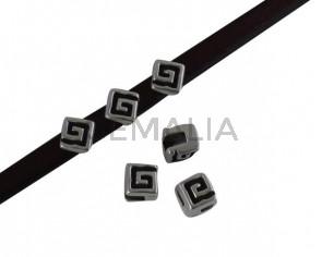 Square bead 6x6mm. Zamak-Silver. Inn.5x2mm