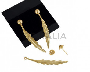Feather Earrings. Brass 48x6mm. Gold. Top Quality