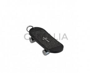 Skateboard Pendant. Stainless Steel 304. 46x20x9mm. Silver. Inn.6mm