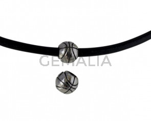 Basketball round bead. Stainless Steel 304. 10.5x9.5mm. Silver. Inn.5mm