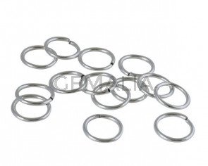 Brass jump ring. 12x1.2mm. Silver