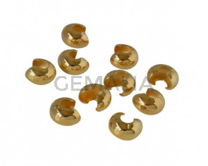 Brass crimp bead cover 6mm. Gold.