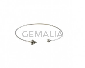 Bracelet with zirconias adjustable. Brass. Arrow 65x56mm. Silver. Top Quality