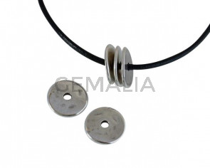 Zamak disk bead 16x16mm. Silver. Int.3mm