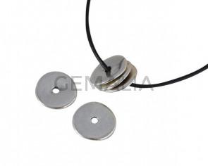 Zamak disk bead  22x22mm. Silver. Int.3,5mm