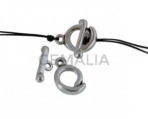 Zamak  Toogle clasp 22x18mm/25x4mm. Silver. Int.3mm