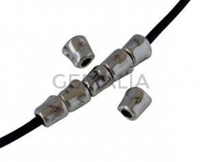Zamak tube bead 7x6mm. Silver. Int.3mm