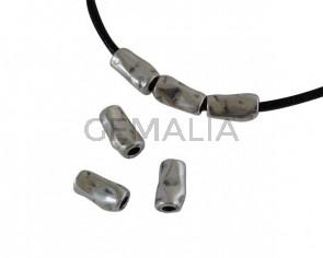 Zamak tube bead 11x6.5mm. Silver. Int.3mm