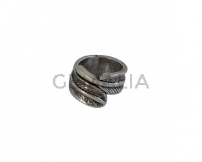 Feather Ring Zamak 21x16mm. Silver. Nº17