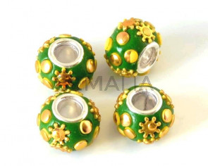 Resin/Rhinestone. Rondelle. 15x10mm. Green-gold. Inn.5mm.approx.