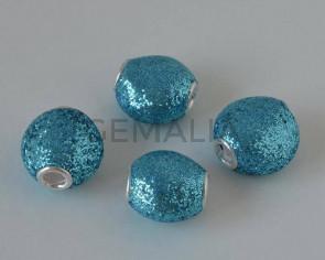 Resin. 13x8mm. Glitter blue . Inn.3mm.approx.