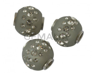 Resin/Swarovski. Round. 16mm. Grey-crystal. Inn.1.8mm. Best Quality.