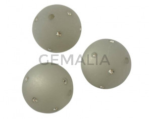 Resin/Swarovski. Round. 20mm. Grey-crystal. Inn.2mm. Best Quality.