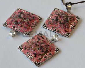 Resin/Metal/Turmaline. Pendant. Square. 38x38mm. Pink-silver. Inn.7mm.